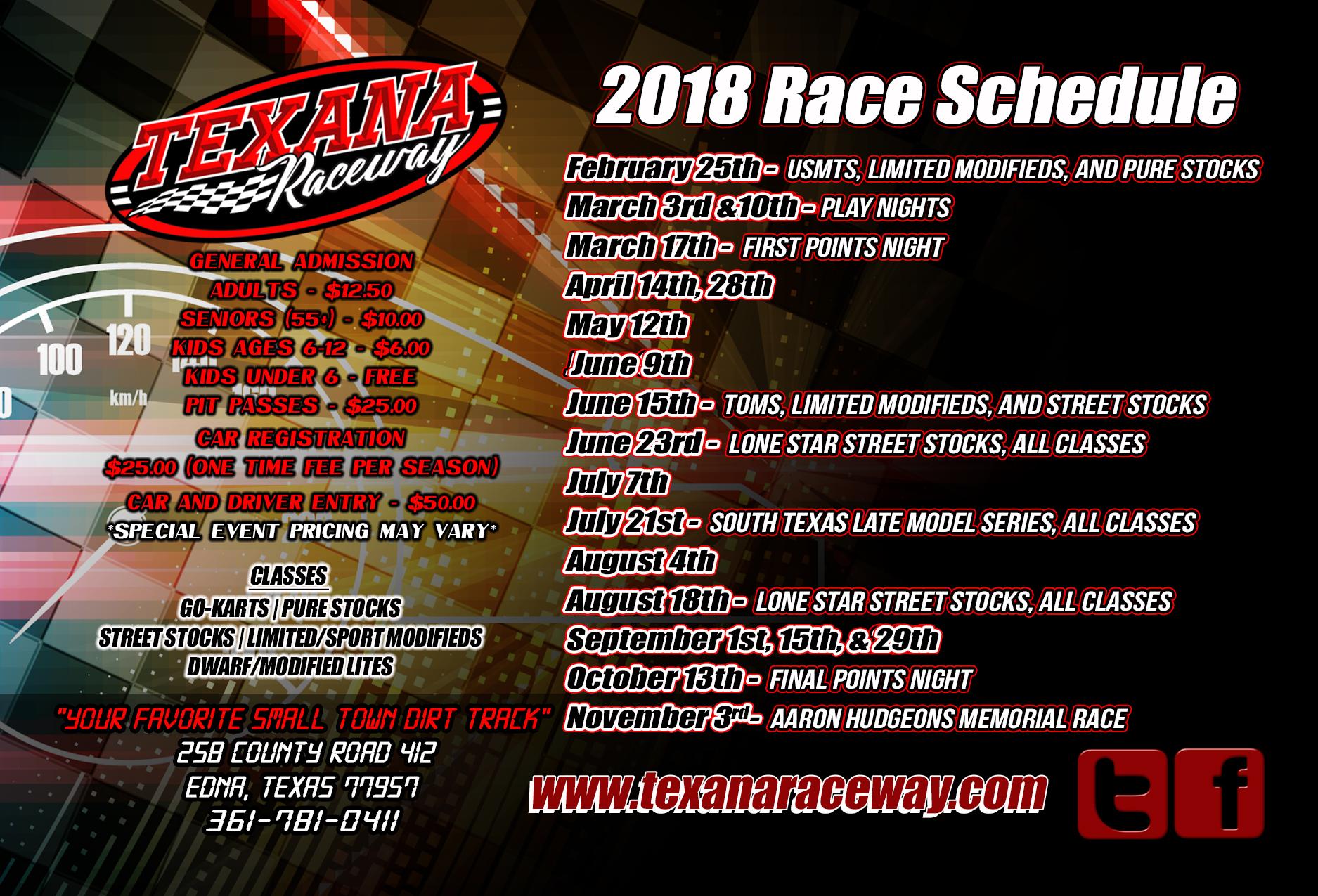 Schedule General Info Texana Raceway